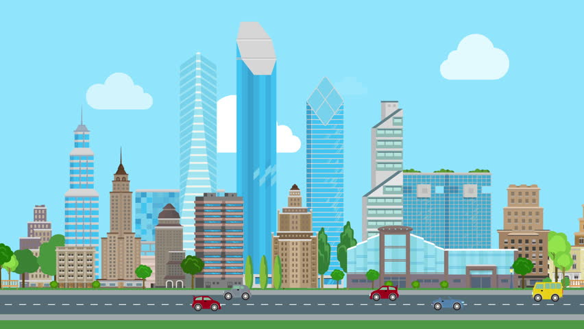 ad627cf99f Flat cartoon panoramic city day looped animated background. Business center  and historic skyscrapers with road highway avenue transport street traffic.