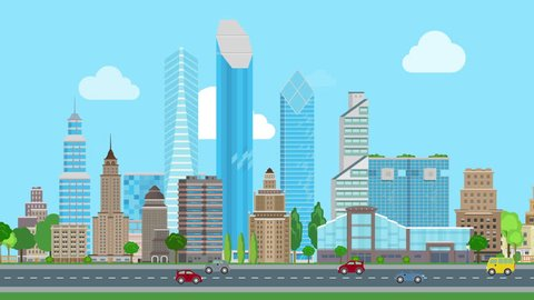 Flat cartoon panoramic city day looped animated background. Business center and historic skyscrapers with road highway avenue transport street traffic.