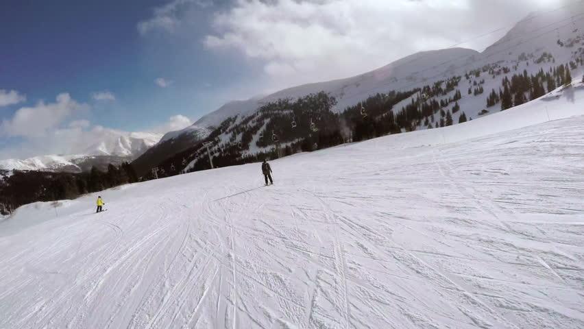 Alpine skiing at Loveland Basin ski area in early season. | Shutterstock HD Video #13064690