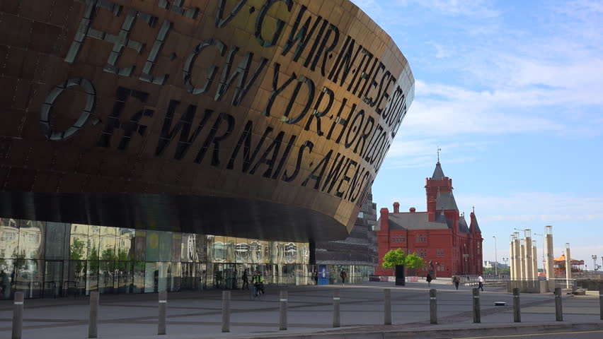 CARDIFF, WALES - CIRCA 2015 - Good establishing shot of the Millennium Center in Cardiff, Wales.