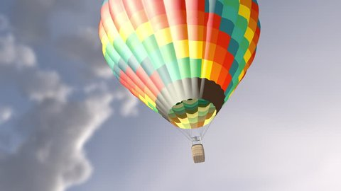 Animation of hot air balloon in the blue sky