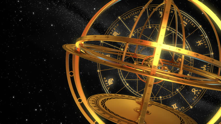 Armillary Sphere And Zodiac Signs. Black Background. 3D Animation.