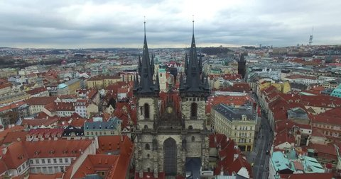 Aerial view of Prague, Bohemia, Czech Republic. Hradcany is the Praha Castle with hurches, chapels, halls and towers from every period of its history.