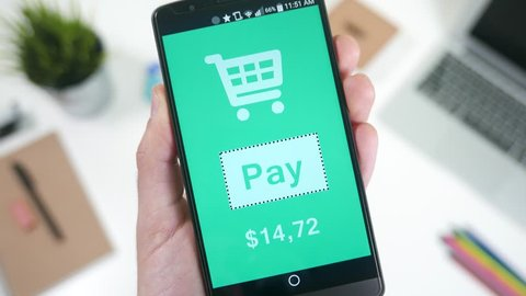 Pay online purchase bill with smartphone device with a single tap.