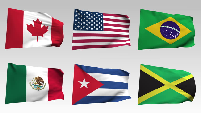 animated  flags from America collection with alpha channel Canada, United States , Brazil, Mexico, Cuba, Jamaica