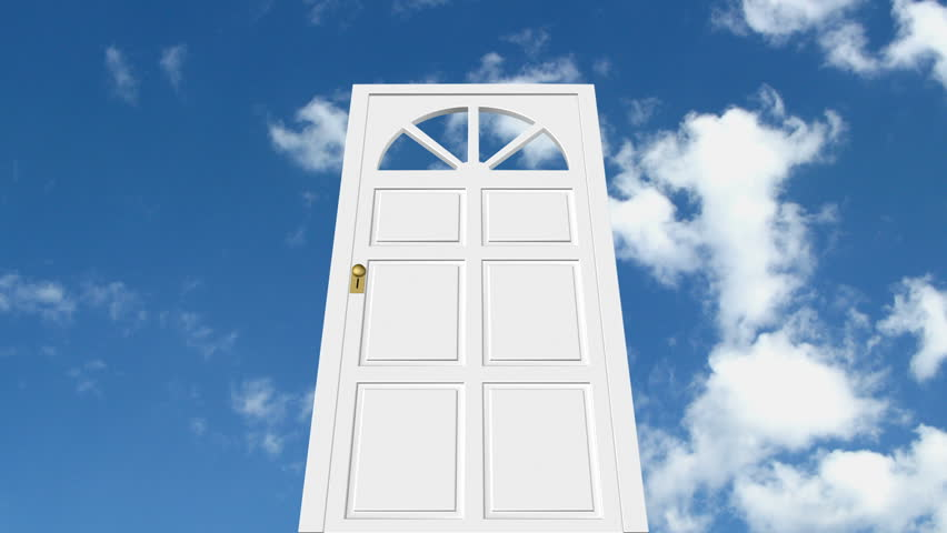 Door in the sky with timelapse clouds. HD version