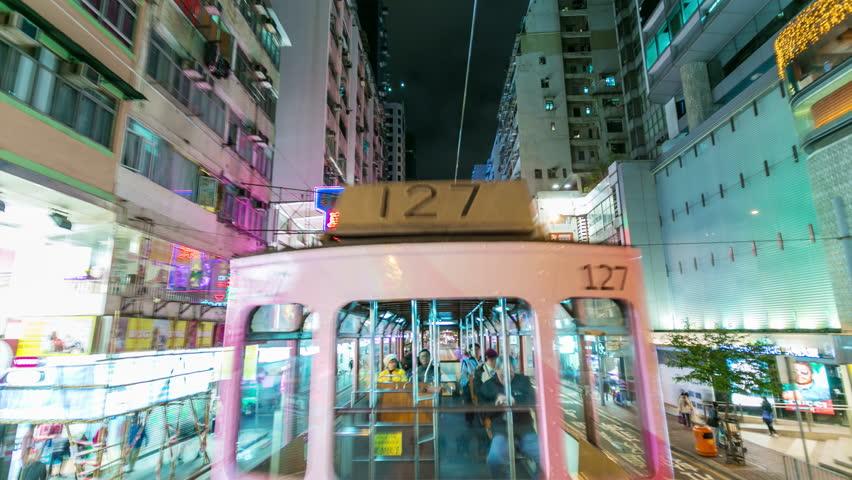 Moving tram in Hong Kong. Night street and tram. Timelapse 4k   Shutterstock HD Video #13182590