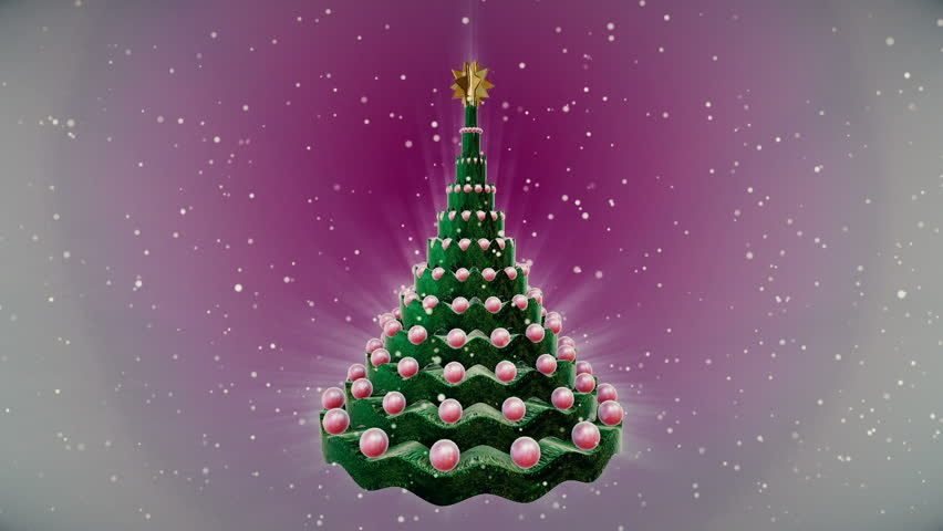 Rotating christmas tree at snow background. Loop animation. Christmas Tree Snow Stock Footage Video (100% Royalty