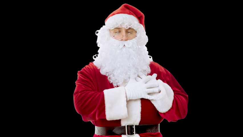 Santa Claus looking at camera, showing his heart and giving heart, isolated in white background, alpha channel | Shutterstock HD Video #13209098
