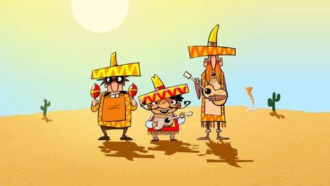 Funny mariachi  pop group and a donkey. Animated cartoon