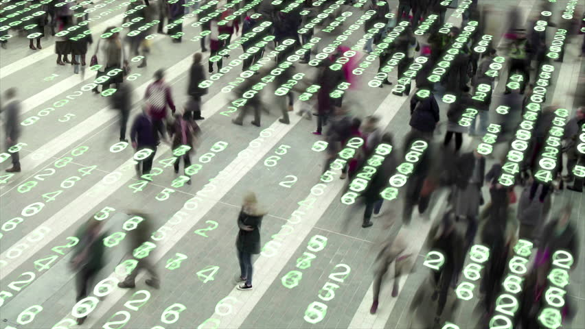 Living in a data matrix city. People walking in a city square composited with a grid of glowing, electronic numbers.