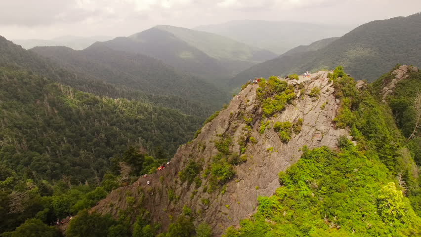 Smoky Mountains Aerial v4 Flying besides Chimney Tops summit.