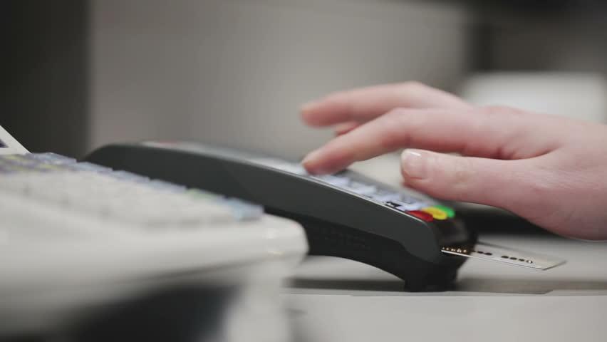 Sale, consumerism: Credit card payment terminal