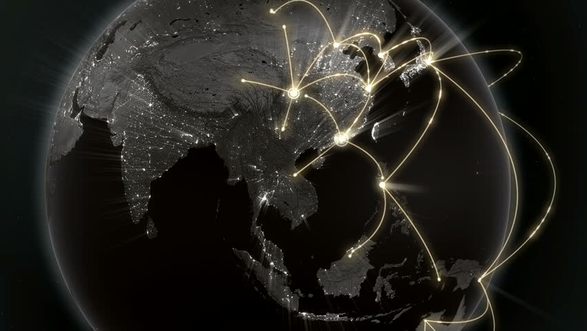 Growing network connection around the world. Global network, internet concept. Orange version. Loopable. 4K | Shutterstock HD Video #13313147