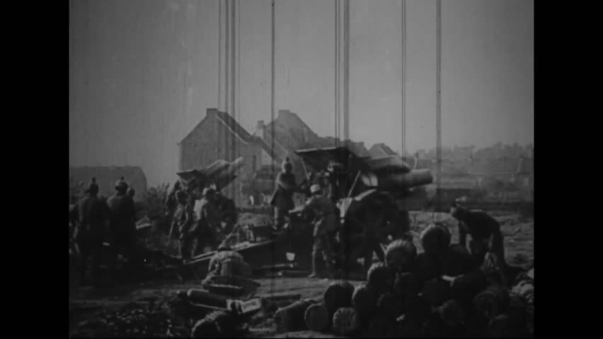 CIRCA 1910s - Captured German war film from World War One shows men and machines heading for the front lines of the war.