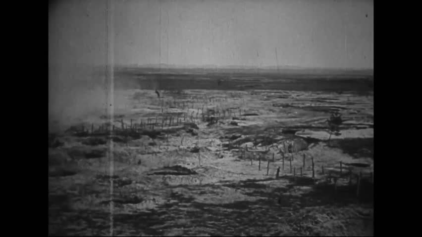 CIRCA 1910s - Captured German war film from World War One shows French and German troops fighting on a battlefield in 1916.