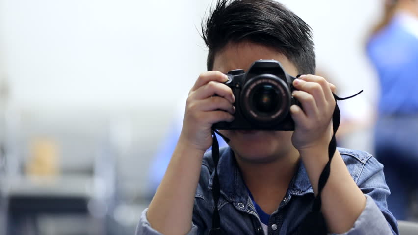 Asian Boy Looking And Shoot With DSLR Camera Stock Footage Video ...