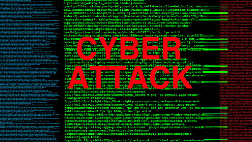 Cyber attack and data base hack on a computer system. Internet cyber crime and data loss.