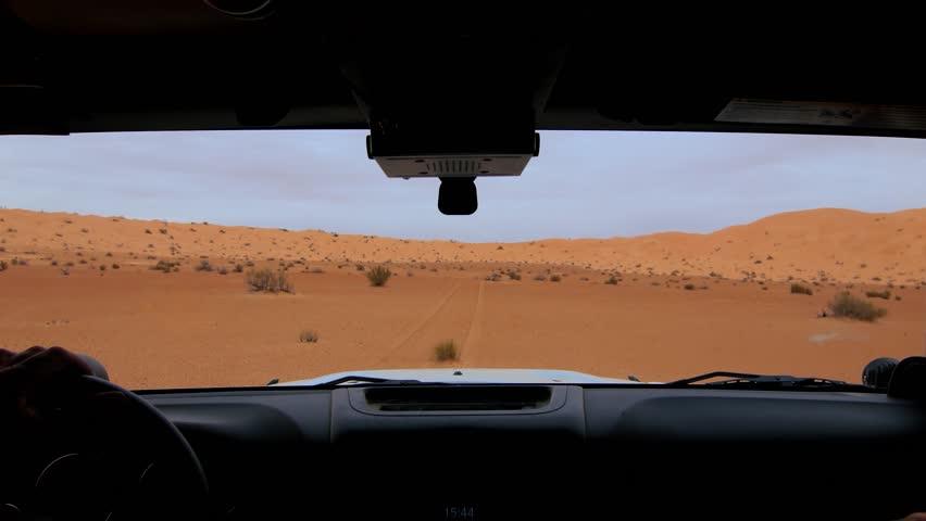 Camera car in the Sahara desert, driver pov.
