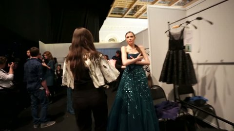 MOSCOW, RUSSIA - MARCH 29, 2015: Behind the scenes, dressing room, models during fashion show, Tony Ward couture collection. Mercedes-Benz Fashion Week Russia.