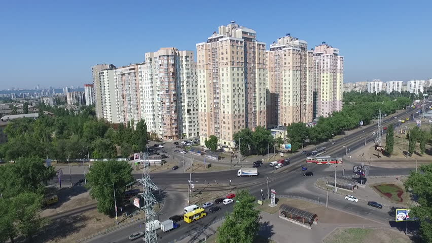Aerial City Avenue . High buildings. City life with altitude