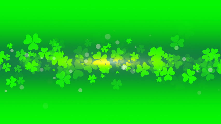 St. Patrick's animated clovers against a green and yellow vignette background. For use as a general backdrop, design element or as an overlay for placement of text or other copy. | Shutterstock HD Video #13402280
