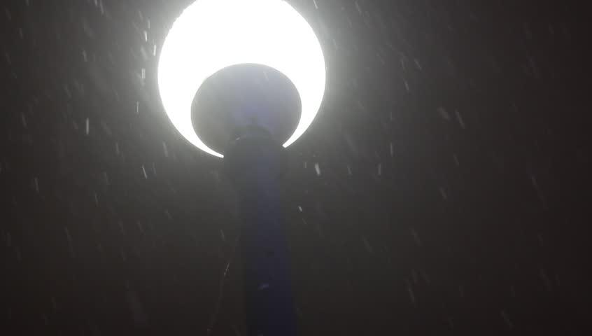 Night Winter Street Lamp With Falling Snow | Shutterstock HD Video #13409930
