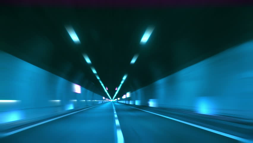 Driving through tunnel, abstract with motion blur and glow. | Shutterstock HD Video #1341715