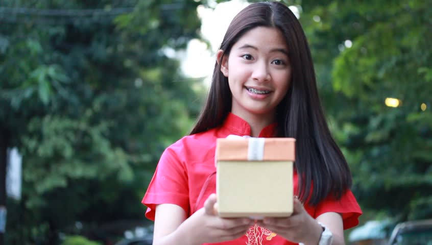 Portrait Of Thai Teen Beautiful Girl In Chinese Dress -3212