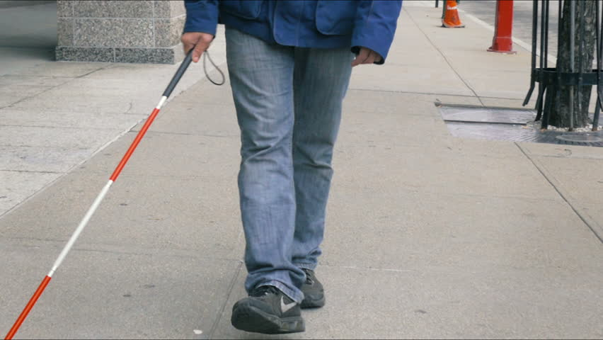 Blind person feet walking with cane closeup #13448270
