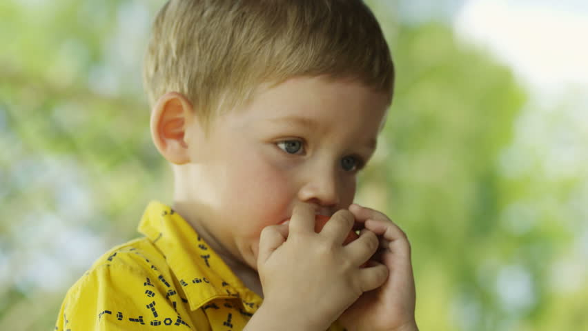 Boy eating an apple.