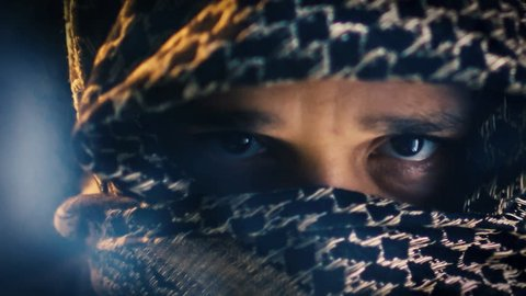 Terrorist eyes closeup