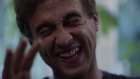 A man high on marijuana cannot stop laughing and begins tearing - Hilarious clip