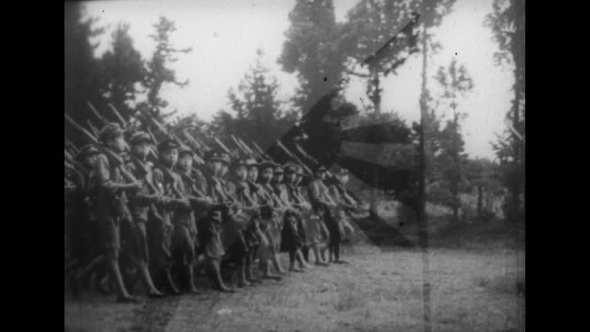 Japan, 1930s: Japanese and Italian Youth Recruits Marching