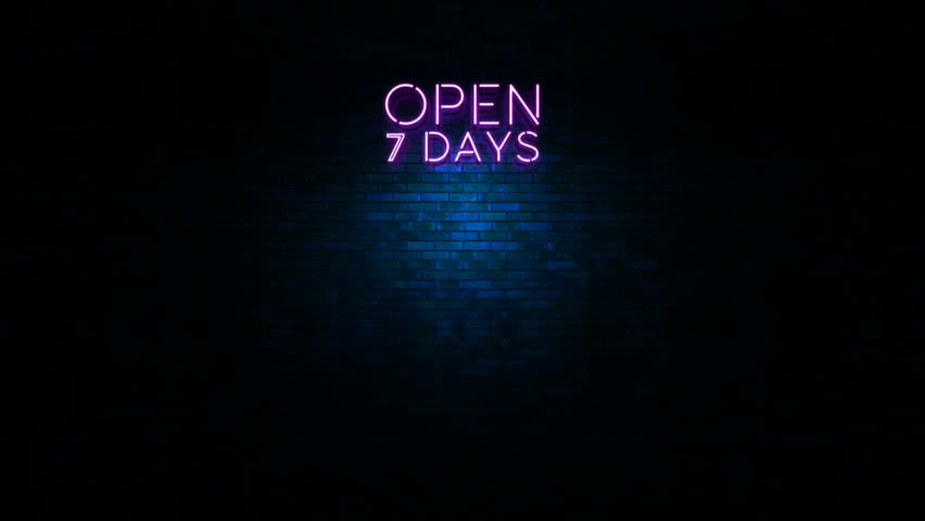 Animation of neon sign with the word open at wall with blue light | Shutterstock HD Video #13621160