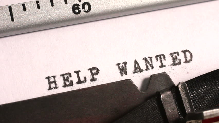 typing help wanted as an advertisement or offer for a job on an old