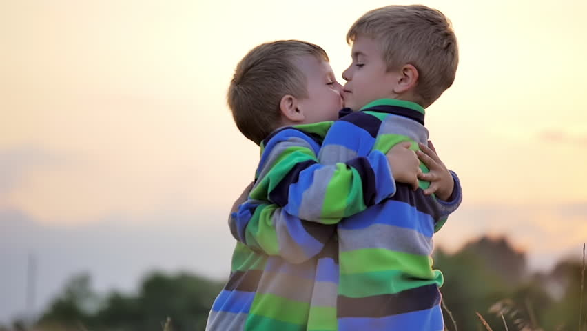 two cute happy little boys kiss hug smile nature countryside meadow slow motion stock footage video 13694570 shutterstock
