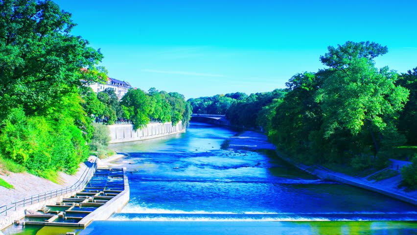 isar river running through munich hd stock video clip - Olympic Swimming Pool 2014