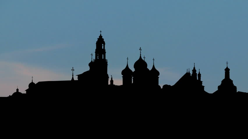 Trinity Lavra of St.Sergius monastery with the moon rising, spiritual center of  Russian Orthodox church, located in Sergiyev Posad, founded in 14th century, part of UNESCO World Heritage list.