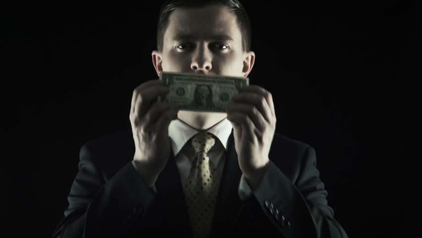 Corruption, The person in a suit closed a mouth by US dollar