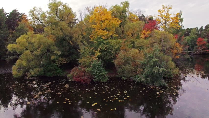 Camera flies over the island with trees on the lake in autumn | Shutterstock HD Video #13749320