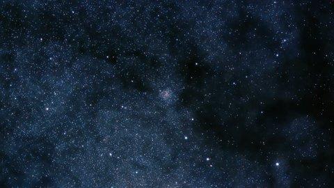 Camera moving towards dense cluster of stars