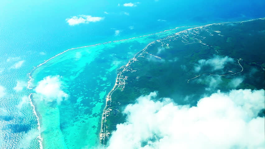 Aerial footage of Caribbean sea and Cayman Islands