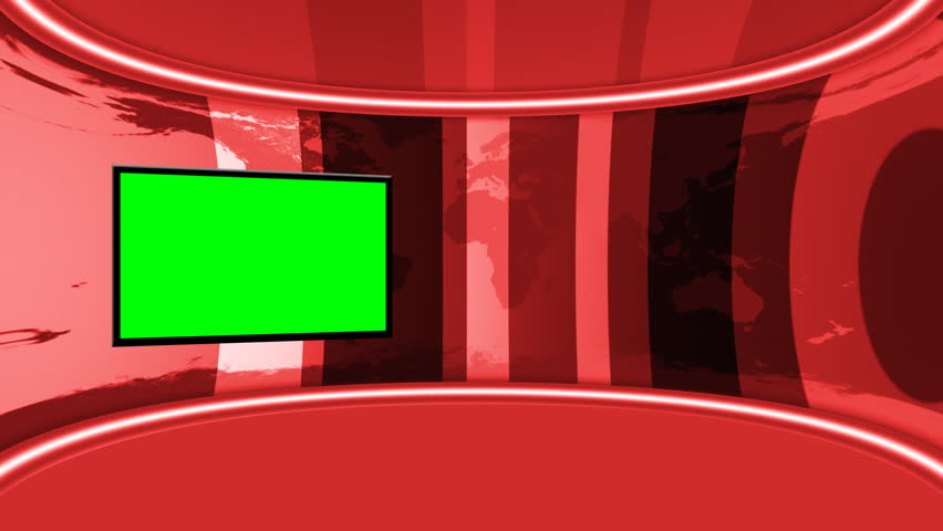 Red Virtual Studio looping animation with GreenScreen monitor. 16bit Color render for better keying and experience.Green is pure green so keying is only one-click, no extra settings needed.