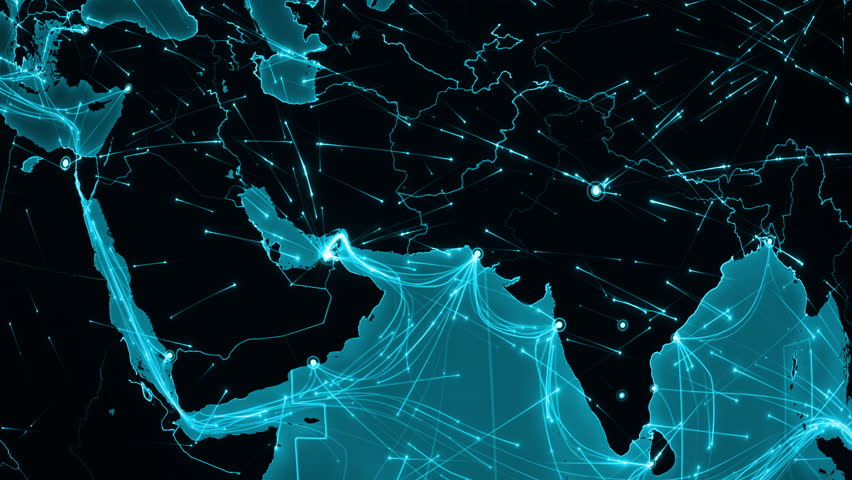 World connections with city lights blue and black world map world connections middle east aerial maritime ground routes and country borders gumiabroncs Image collections