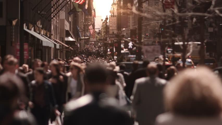 Crowded street. New York City. US. People walking in busy street of Manhattan. | Shutterstock HD Video #13807220