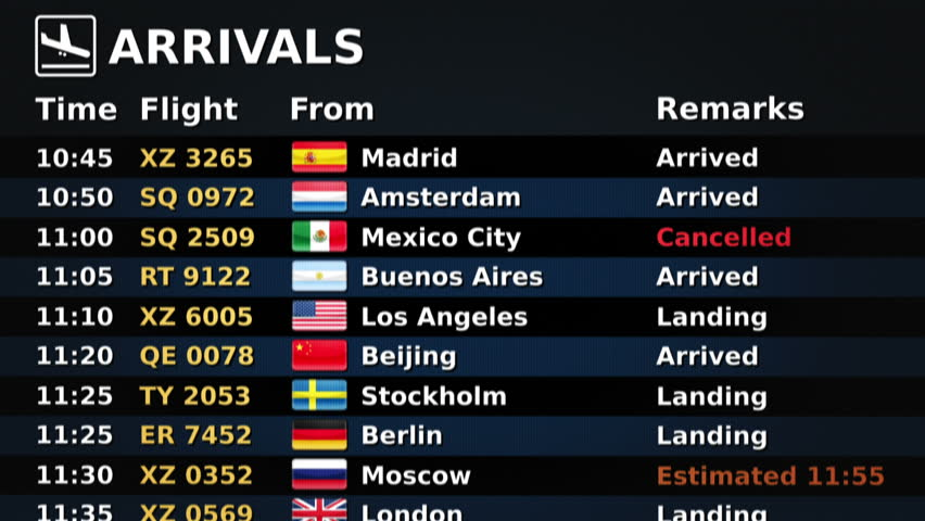 Airport arrival board. Black and Blue. 2 videos in 1 file. Airport arrival board showing time, flight number, city and country flag of the flight. Lateral and frontal view. Loopable.