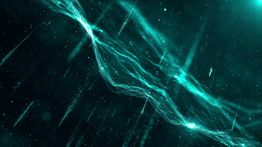 Loopable, abstract beauty shot with a lot of shine, glow and particles, wavy surface made of dots, 3d render with depth of field | Shutterstock HD Video #13817453