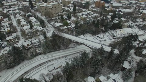 Aerial video of Portland Oregon during 2016 Snow Storm.