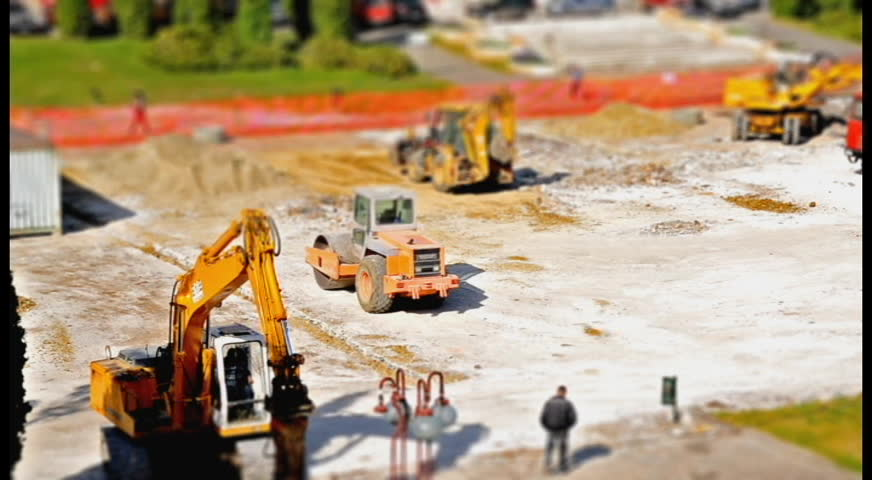Timelapse construction ground with heavy machinery